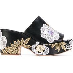 Laurence Dacade floral patches platform sandals ($730) via Polyvore featuring shoes, sandals, black, platform sandals, black floral shoes, leather shoes, black leather sandals and floral print sandals