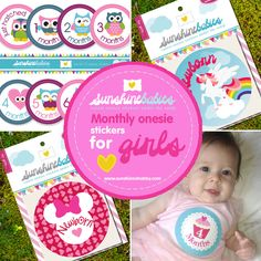 Stunning Girl Monthly Onesie Stickers available at SunshineBabies on Etsy