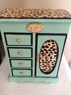 Vintage Jewelry Box Up Cycled Hand Painted Decoupaged Animal Print