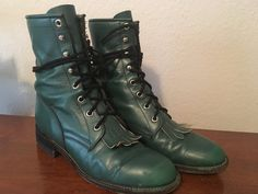 Vintage Green Justin Granny Western Combat Rocker by PiasFinds