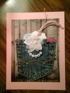 Denim pocket holds gift card for Bridal Shower or Wedding.