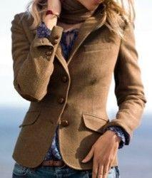 H & m classic herringbone/tweed blazer with elbow patches~beige/brown~ uk 18/20