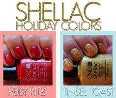 CND Shellac Limited Edition Holiday Colors - Ruby Ritz and Tinsel Toast (love these!) #nails #manicures