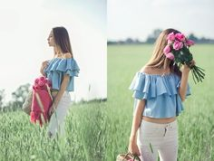 More looks by Martyna Piotrowska: http://lb.nu/tynkaa  #bohemian #romantic #street #offshoulder #roses #summer #rippedjeans #jeans #babyblue