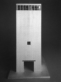 Aldo Rossi Model of tower of Project for School of Architecture, Miami, USA, 1986 Classic Architecture, School Architecture, Contemporary Architecture, Architecture Design, Architecture Models, Architecture Collage, Aldo Rossi, Arch Model, Projects