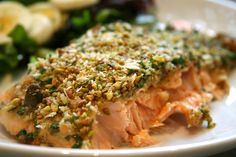 Pistachio Crusted Salmon recipe at www.ahealthylifeforme.com / make without the breadcrumbs next time.