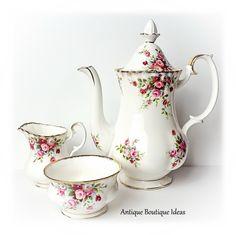 Mid Century Royal Albert Tea Pot Set Cottage Garden English Bone China Coffee Pot Set Floral Decor Cottage Chic English Roses Shabby Serving by AntiqueBoutiqueIdeas on Etsy