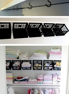 Some dollar store plastic mini-crates, some hooks under the top shelf and instantly a whole world of organizing possibilities opens up