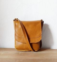 Camel Crossbody Leather Bag by morelle