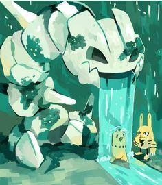 """8,328 Likes, 20 Comments - Saburo90 (@pokemon.fan.art) on Instagram: """"Steelix Fountain . .. Follow Me on YouTube at Saburo90.  Turn on post notifications. .  #pokemon…"""""""