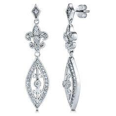 Sterling Silver Marquise Cubic Zirconia Fleur De Lis Dangle Earrings