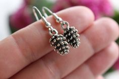 Pine cone earrings, forest earrings, silver earrings, woodland earrings, autumn fashion, silver jewelry, bohemian earrings, urban fashion