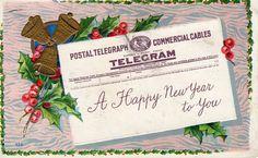 Postal Telegram Embossed Vintage New Years Postcard #NewYear