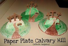 Calvary Hill Paper Plate Craft - Catholic Inspired