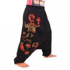Pantalon bouffant noir avec Gecko cousue sur