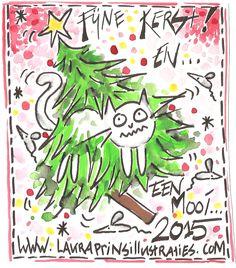 Fijne feestdagen!#kerstkaart#nieuwjaarskaart#kerstboom#kat in boom#