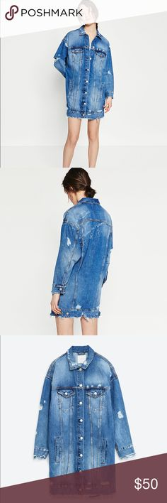 """ZARA Blue Longline Denim Jacket Zara long denim jacket. Great over an outfit or even worn as is! Barely used. There is a quote written on the back of the jacket. I can't seem to make out the entire thing but the last two lines are; """"without thinking about tomorrow."""" and """"NEXT STOP...?"""" Zara Jackets & Coats Jean Jackets"""