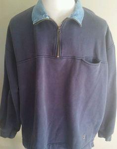 Men's Vintage Tommy Hilfiger Navy 1/4 Zip Collared Sweatshirt Large Elbow Patch #TommyHilfiger #Sweatshirt