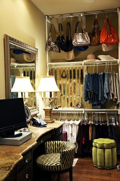 Used this idea in my small walkin closet for purses - used tension shower rod up close to the ceiling & shower hooks