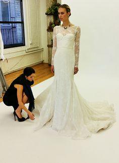 From @zacposen's Fall 2015 #weddingdress collection | Brides.com