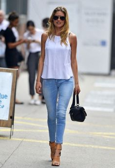 Simple white top with denim jeans and nude heels ✨