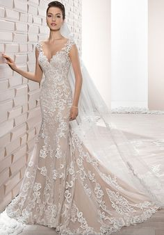 Demetrios Wedding Dress - Style 713 : Intricate lace embroidery coupled with a dramatic illusion back and buttons create this glamorous fit n flare gown. Fit And Flare Wedding Dress, Lace Wedding Dress, Wedding Gowns, 2017 Wedding, 2017 Bridal, Trendy Wedding, Colored Wedding Dresses, Wedding Dress Styles, Bridal Dresses