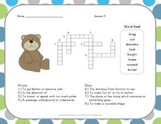 Vocabulary Crossword Puzzle - 2nd Grade - Journeys Lesson 9