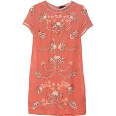 Needle & Thread Gilded Filigree embellished chiffon mini dress