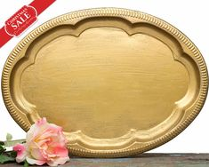 SET OF 3 Holiday Gifts - Vintage Gold Style Serving Tray - Vanity tray - Wedding Favors Cards Holder - Jewelry Tray - Christmas Decorations