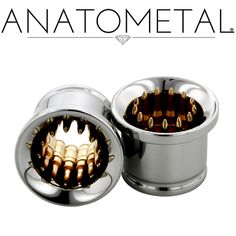 """Anatometal Bullet Eyelets, from 00ga to 2\\\"""",  Inlays re typically in bronze, but silver and gold are also great choices. The eyelet portion will be made from implant grade stainless per ASTM F-138 with your choice of gems."""