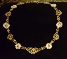 Sunflowers & Daisies Floral Beaded Necklace Superduos Gold