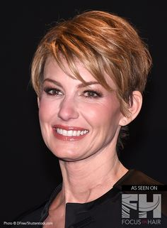 Heavy on top with forward swept layers, Faith Hill's short coif accents her features and striking facial structure. Ideal for women with a stronger jaw line and lengthy neck, this hairstyle offers an air of confidence.