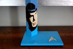 Spock Star Trek Handcrafted handpainted by QrtosCreations Wooden Table Lamps, Spock, Star Trek, Bookends, Hand Painted, Stars, Unique Jewelry, Handmade Gifts, Etsy