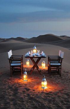 Romantic desert dinner with dessert in the Sahara /// #travel #wanderlust