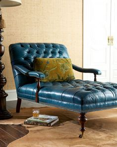 1000 images about chaise in pavements on pinterest for Blue leather chaise lounge