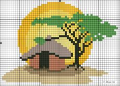Sunset in Africa pattern in blocks. Free cross-stitch patterns, http ...