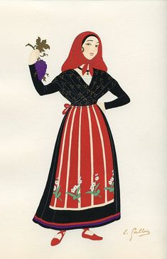 Le Roussillon, French Provincial Costumes (1936), artist: Emile Gallois
