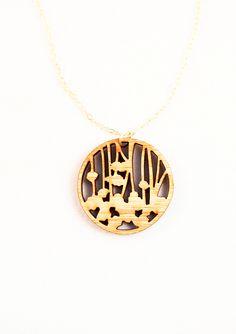 Begonia Circle Laser Cut Pendant Necklace by foliadesignsf on Etsy