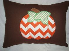 Chevron Pumpkin - Thanksgiving - Appliqued Throw Pillow on Etsy, $30.00