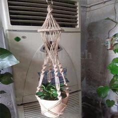 Handcrafted Knitting Macrame Jute Plant Hanger Pot Holder Basket Hanging Ring