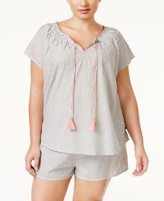 Lucky Brand Plus Size Tassel-Trim Pajama Shorts Set