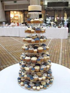Navy and Cream cupcake wedding tower