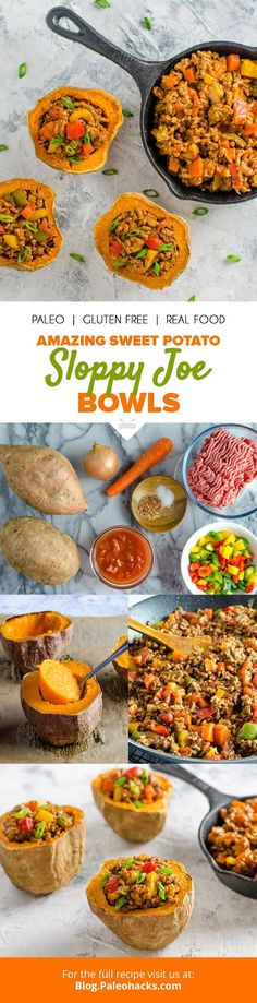 Hello, weekend comfort food: Crispy sweet potato bowls get loaded with tender ground beef and creamy tomato sauce for an amazing take on Sloppy Joe. You'll definitely want seconds on this one. Get the recipe here: http://paleo.co/SWPsloppyjoes