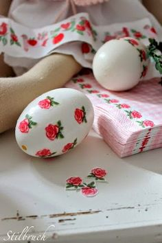 I use to decoupage blown~out eggs years ago.  I used napkins  and fabric .  As I was pinning on Pinterest I found some sweet ones I just...