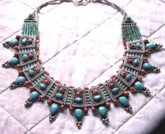 Gorgeous Nepalese lturquoise and coral necklace, Tribal silver, tribal necklace, ethnic jewelry