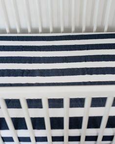 Cotton Muslin Crib Sheet - Navy Stripe