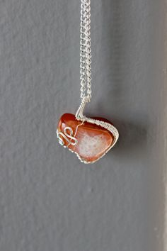 Orange Calcite Pendant: Hand Crafted Wire Wrapped by ParagonStones