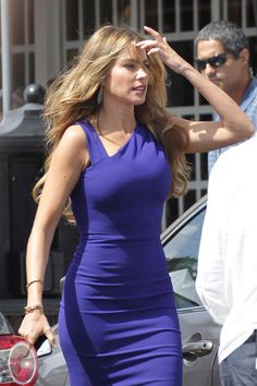 """Sofia Vergara wore a tight blue dress as she left the set of """"Chef"""" in Little Havana, Miami on Aug. 10."""