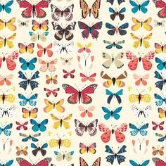 Butterfly Fabric | Double Gauze | Cream | Scarf Material | Butterfly Print | Fairy Tale Fabric | Lizzy House | Enchanted Forest | Fantasy