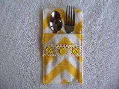 Set of 4 Yellow Chevron Table Silverware Serving Pocket Holder Wedding Accessory on Etsy, $18.00